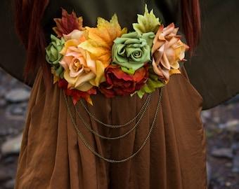Autumn Flower Sash Belt