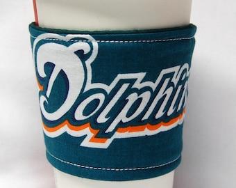 Coffee Cozy/ Cup Sleeve Eco Friendly Slip-on, Teacher Appreciation, Co-Worker Gift, Bulk Discount: NFL Miami Dolphins I -