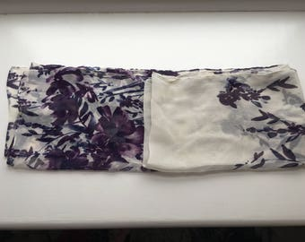 Floral white and purple scarf