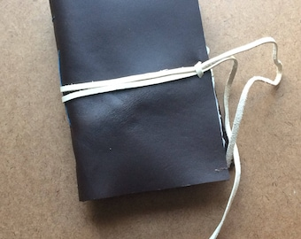 4.5x7 inch brown leather journal, classic journal,  small notebook, leather journal, handmade paper, recycled paper, homemade paper