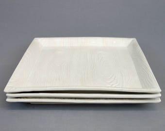 "Handmade White Stoneware Square Dinner Plate, Faux Bois Wood Grain Pattern, Dinnerware 11"" Square Dish, Ready To SHIP"