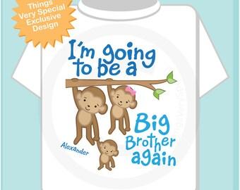 Big Brother Again Shirt or Onesie, Monkey Shirt, Big Brother Monkey, Personalized Big Brother Sibling Monkeys Tee Shirt (12272013d)