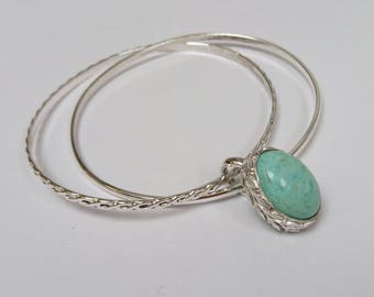 Sterling silver handmade double bangles with  natural Arizona turquoise cabochon, hallmarked in Edinburgh