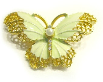 Vintage Butterfly Pin Enamel Green Butterfly Pearl Rhinestone Brooch Designer Signed Under 15 Gift Idea For Her For Mom