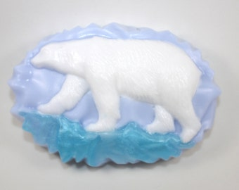 Polar Bear on Ice Soap - arctic animals, endangered animals, bears, cold, cold weather, snow, Alaska, Canada, zoo, animal theme, party favor