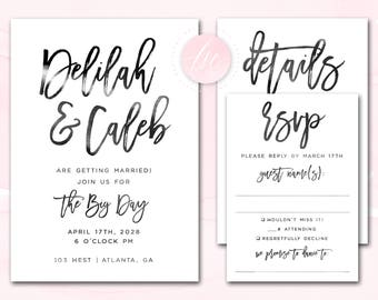 Wedding Invitation Printable, Wedding Invite, Digital Printable Invitation, Custom Colors Wording, Modern Brush Script | DIGITAL PRINTABLE