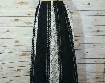 Vintage, 1970's, Carefree Fashions black and white lace maxi peasant skirt, Medium