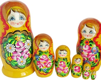 "7 pc Set of Stacking Dolls - Russian Matryoshka - Babushka with Lace Shawl, Handmade Wooden Nested Doll - 8.3"" Tall"