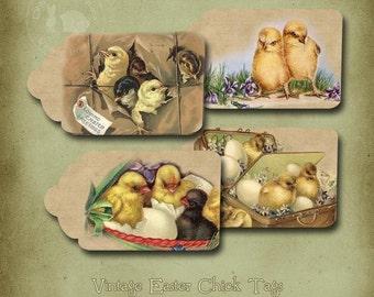 Vintage Pâques poussins et oeufs imprimable Tags numérique téléchargement immédiat