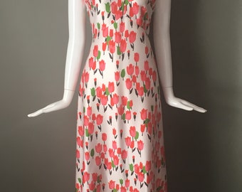 Super Pretty Vtg 70s Emilio Borghese Bright Crimson Tulip Print Maxi Dress Doubleknit MInt M