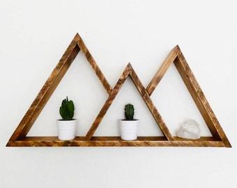 Mountain Shelf - Triangle Shelf - Geometric Shelf - Plant Shelf - Crystal Shelf - Mountain Shelves - Shelf - Wall Decor - Mountain Wall Art