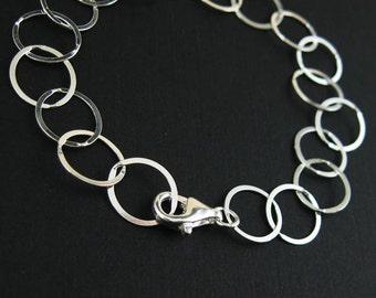 Sterling Silver Chain - Big Flat Circle Bracelet - lisa taubes Charm Bracelet - 10 mm (7.5 inches) SKU: 601032-7.5