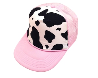 Andrea Cow Print Trucker Hat-Youth Size