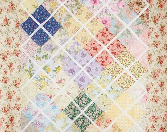 """Diamond Trellis Floral Quilt Top by Jody's Place, Add Batting, Backing and Quilt for a Gorgeous Throw Blanket, 45"""" x 66"""" in Size"""