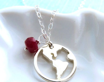 Earth Necklace with Birthstone World Necklace Journey Necklace Graduation Gift Graduate Good luck Bon Voyage Necklace Genuine Birthstone