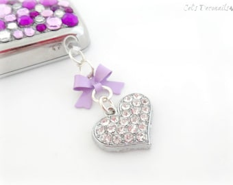 Kawaii heart cell phone dust plug charm, cute earphone plug charm, gift for her