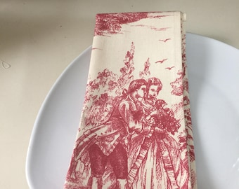 Toile dinner napkins size 20by 20inches/ Toile fabric napkins/ Toile cloth napkins/ French country napkins