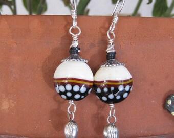 Earthy neutral lampwork earrings-Artisan lampwork jewelry- Polka dots- Lisa New Design
