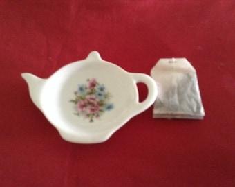 """Ceramic Tea Bag Holder Pink and Blue Flowers 4.5"""""""