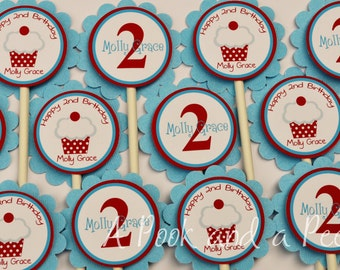 Red White and light blue Classic Cupcake Cupcake Toppers Birthda Shower Cupcake Picks Set of 12