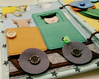 Quiet Book Activity Felt Craft Fabric Montessori Handmade one year