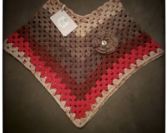 Girls Poncho - crocheted with flower detail - Age 0-2