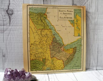 Small world map etsy 1931 egypt antique map home decor beautiful old map maps of the world cool vintage map small colorful map gift gumiabroncs Gallery