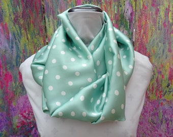 Satin Scarf  Mint Green coloured . Infinity or Long scarf..Green Polka Dot Scarf  56 inches ( 142 cm ) by 10 inches ( 26 cm )