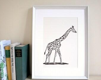 Linogravure imprimer girafe, linogravure originale, édition limitée, animale illustration imprimer, animale, brun, fait main, art.