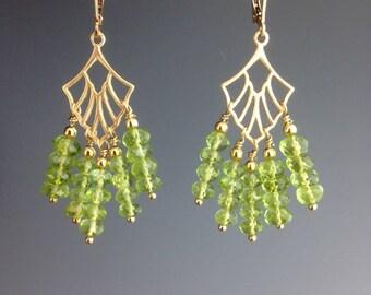 Peridot Earrings - Peridot Jewelry - August Birthstone Jewelry - Gold Gemstone Jewelry - Green Chandelier Earrings - Peridot Feathers