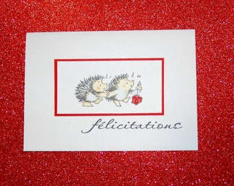 Birth or wedding congratulations card - little hedgehogs