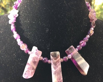 3 Point Amethyst Neckless