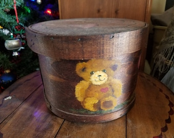Antique Hand Painted Bear Cheese Box