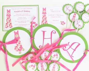 Slumber Party Birthday Party Package, Sleepover Invitations, Girls Slumber Party, Pajama Party Invitation, Girl's Birthday Party
