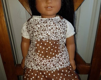 Polka-dotted Doll Apron with Flowers-Doll Clothes-Kids Matching Aprons- American Girl Inspired