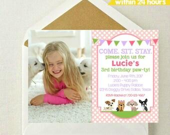 Puppy Photo Invitation // Puppy Birthday Invitation // Puppy Party // Puppy Invite // Puppy Theme // Adopt a Puppy // Puppy Paw-ty