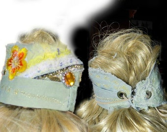 Bohemian headband , fabric head piece , ponytail wrap , gypsy head piece , hair fashion , adult headband , # 69
