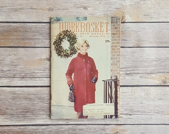 Sewing And Home Arts Magazine Vintage Workbasket Christmas Holiday December Issue Red Retro Women's Sew Crafts Recipes Winter Coat Pattern