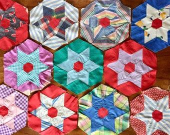 Old Cotton Hand Sewn Quilt Blocks
