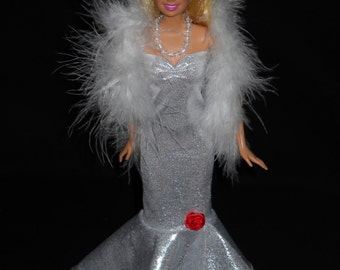 3 Piece Outfit Barbie Doll Dress Handmade Shiny Silver Sweetheart Sheath Formal Dress with Boa and Necklace