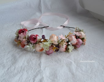 Pink beige flower crown