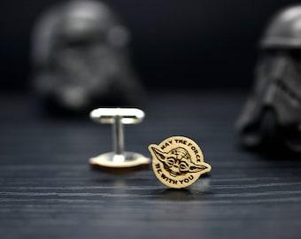 Star Wars men cufflinks - JEDI May The Force be with you wedding cufflinks  - Joda wedding accessories