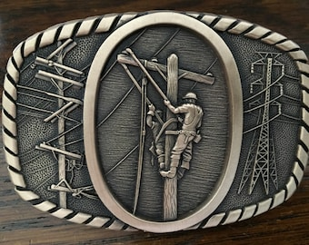 Solid Brass Power Lineman Belt Buckle