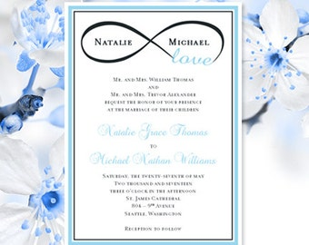 "Printable Wedding Invitation Template ""Infinity Love ""Sky Blue & Charcoal Gray Make Your Own Wedding Invitations All Colors Av DIY You Print"