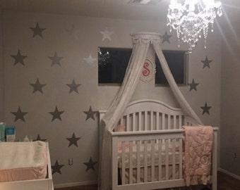 "8 1/2"" Metallic Silver Vinyl Star Wall Decals / Silver Star Wall Decals / Nursery Wall Decal / Kids Room Wall Decal / Teachers Wall Decal"