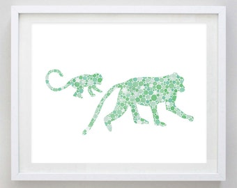 Mamma and Baby Monkey Watercolor Art Print in Green Circles