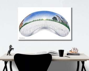 ART PRINTS - The Bean - Stippling - Pointillism | Chicago, Chicago Print, Millennium Park, Chicago Art, Cloud Gate, The Bean Chicago, Art