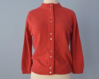1950s Womens Sweater...LOFTIES Deep Pumpkin Orange Sweater