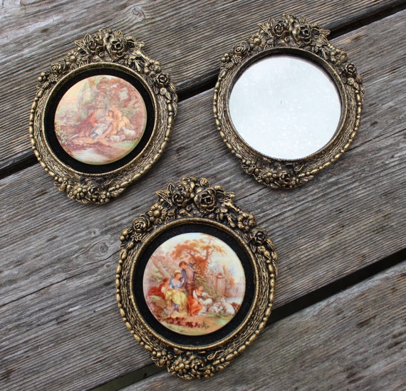 Vintage Ornate 2 Pictures 24 Kt Gold Plated Oval Small Frames Metal ...