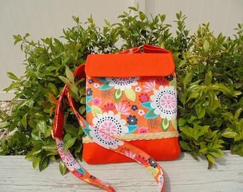 SALE ,Cross Body Bag, Shoulder Bag, Womens Hip Bag ,Hands Free Purse, Orange Canvas